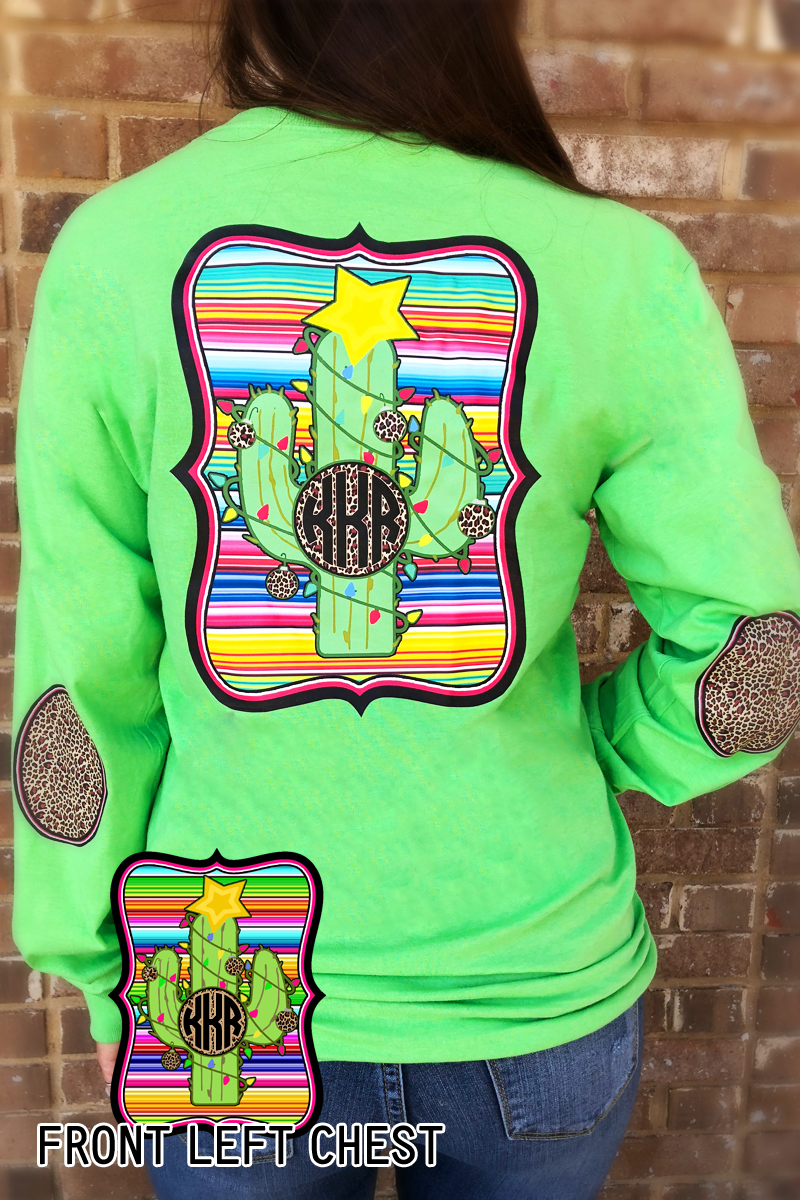 Christmas Cactus: Serape/ Cheetah Monogram Elbow Patch Long Sleeve Tee