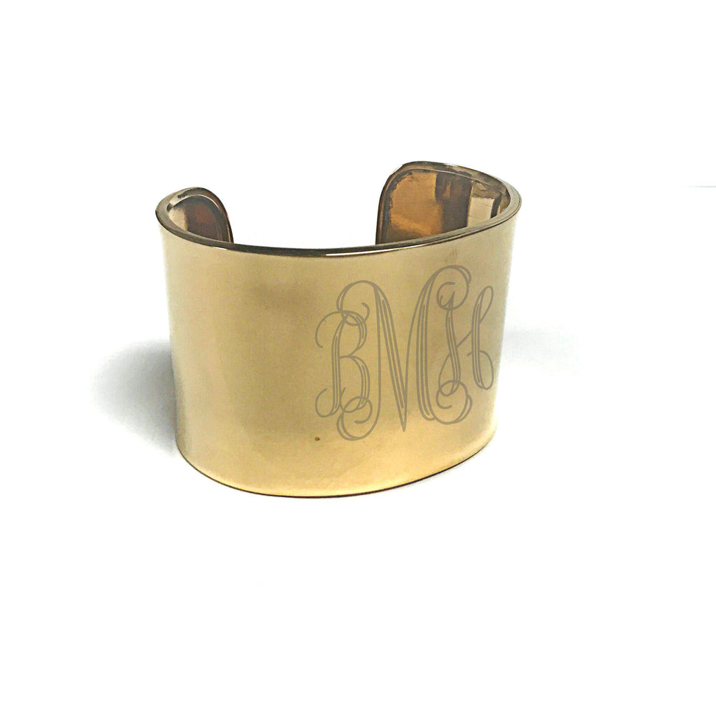 Silver Monogram Wide Band Cuff: GOLD/SILVER