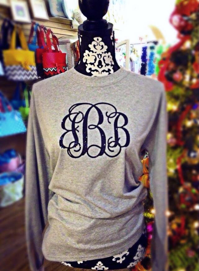 Grey Long Sleeve with Black Glitter Monogram