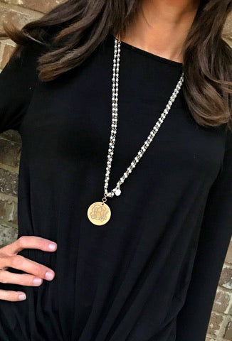 Hailey Monogram Pearl Chain Necklace