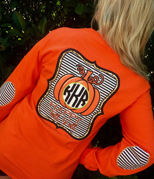 Happy Fall Yall Monogram Elbow Patch Long Sleeve Shirt: Orange