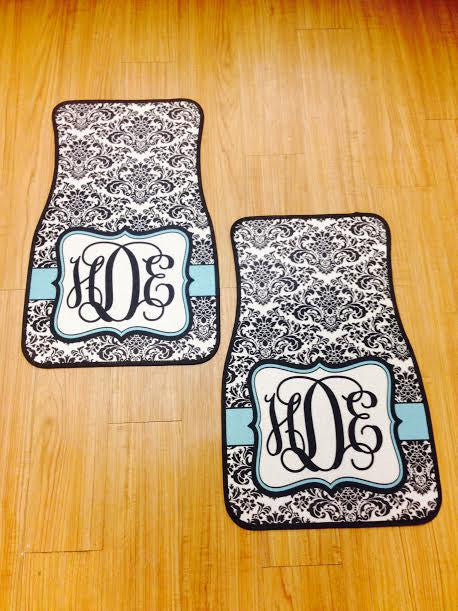 Monogram Car Mats: Damask/ Aqua
