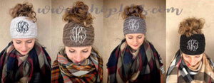 Monogram Messy Bun Beanie Headband
