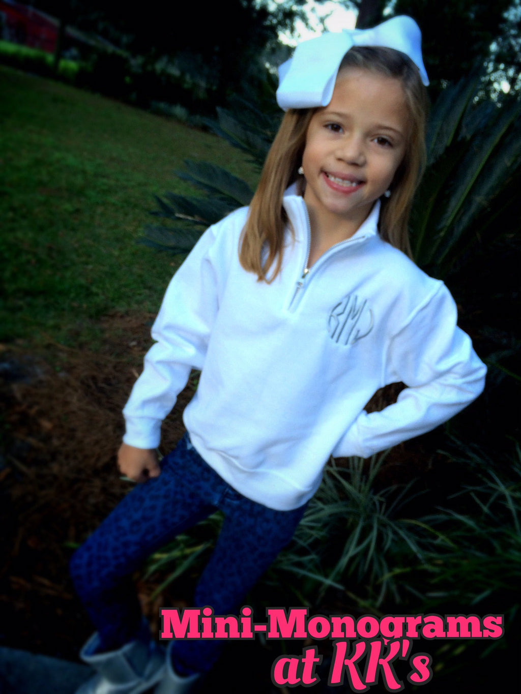 MINI-MONOGRAMS- Quarter Zip Sweatshirt: White/Silver