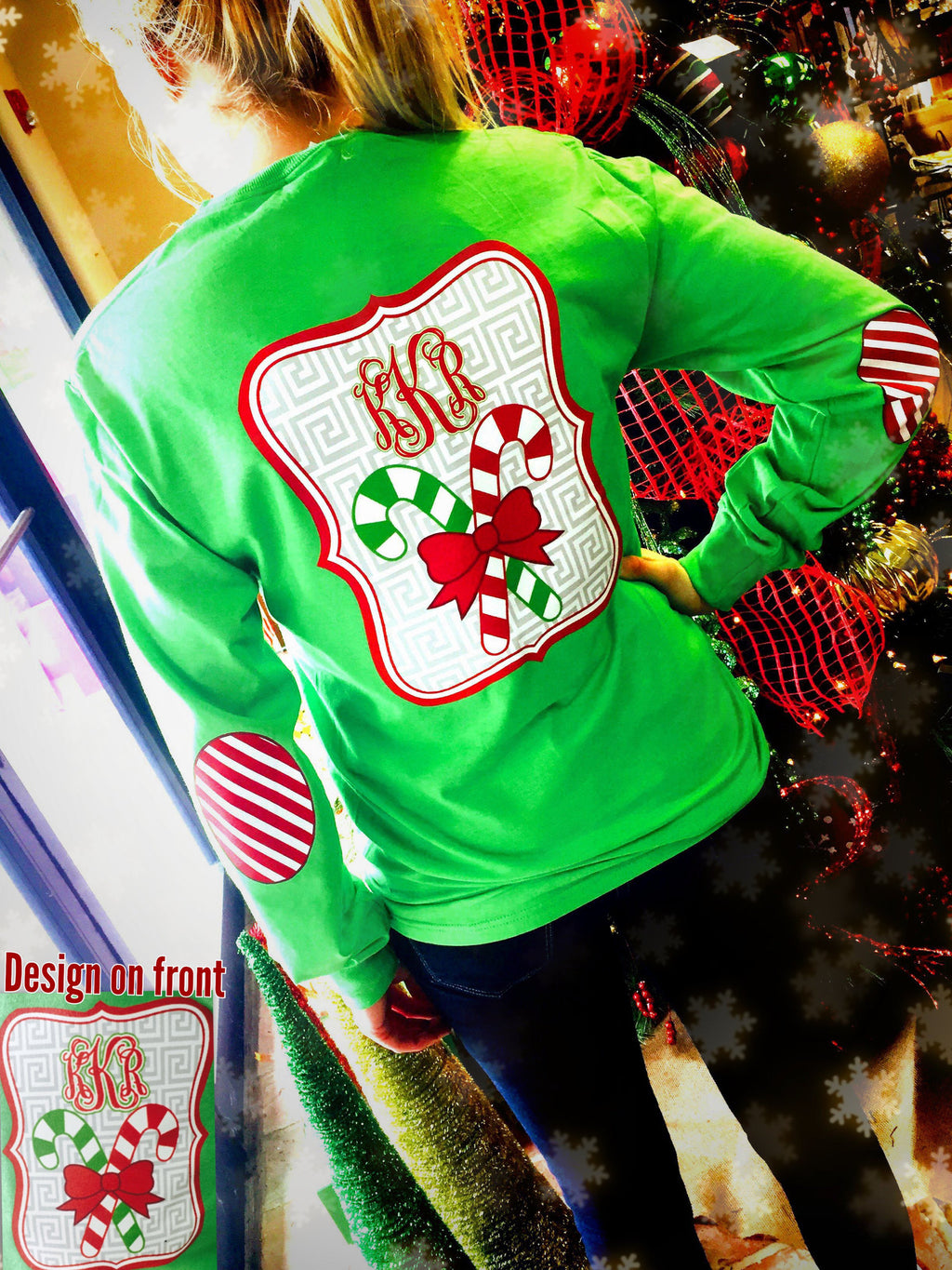 Candy Cane Christmas Elbow Patch Long Sleeve Shirt: Lime/Candy Canes