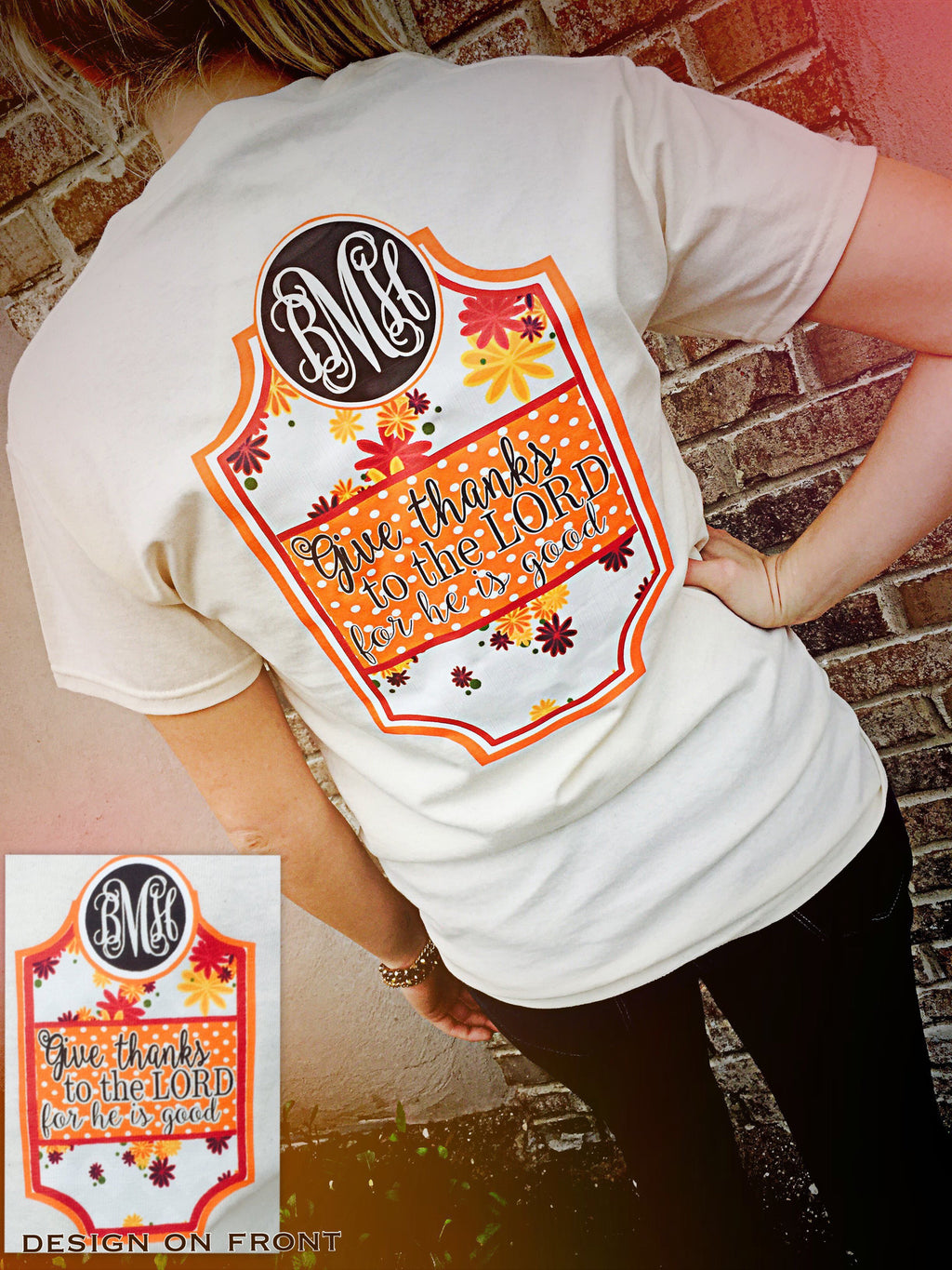 Give Thanks Fall Monogram Tshirt