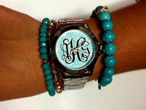 Aqua Curly Cues Watch: Black Monogram