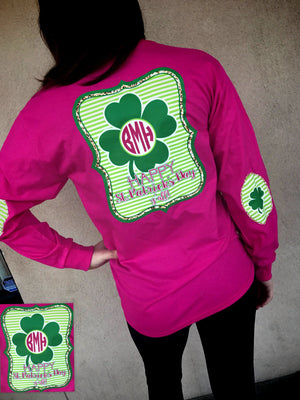 Happy St. Patricks Day Yall Monogram Elbow Patch Long Sleeve Shirt: Hot Pink