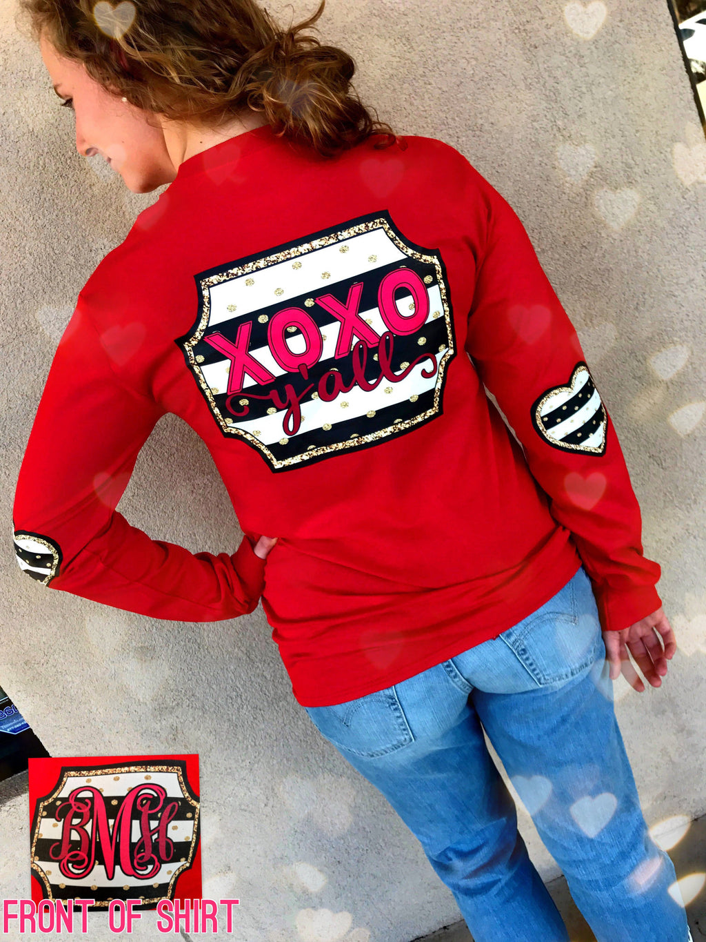 XOXO y'all Monogram Elbow Pad Tshirt: Red/Heart