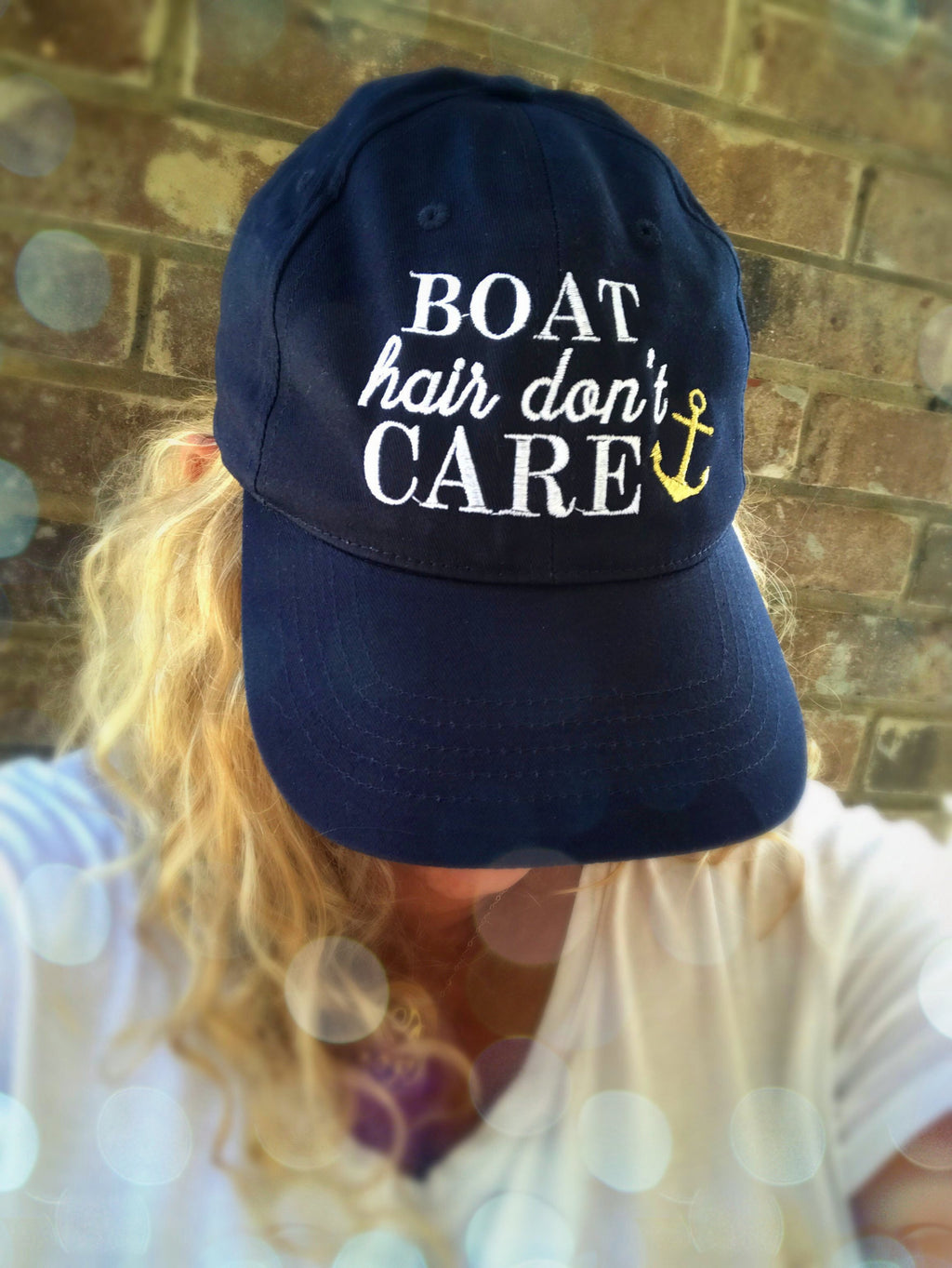 Boat Hair Don't Care Navy Hat: White/Gold
