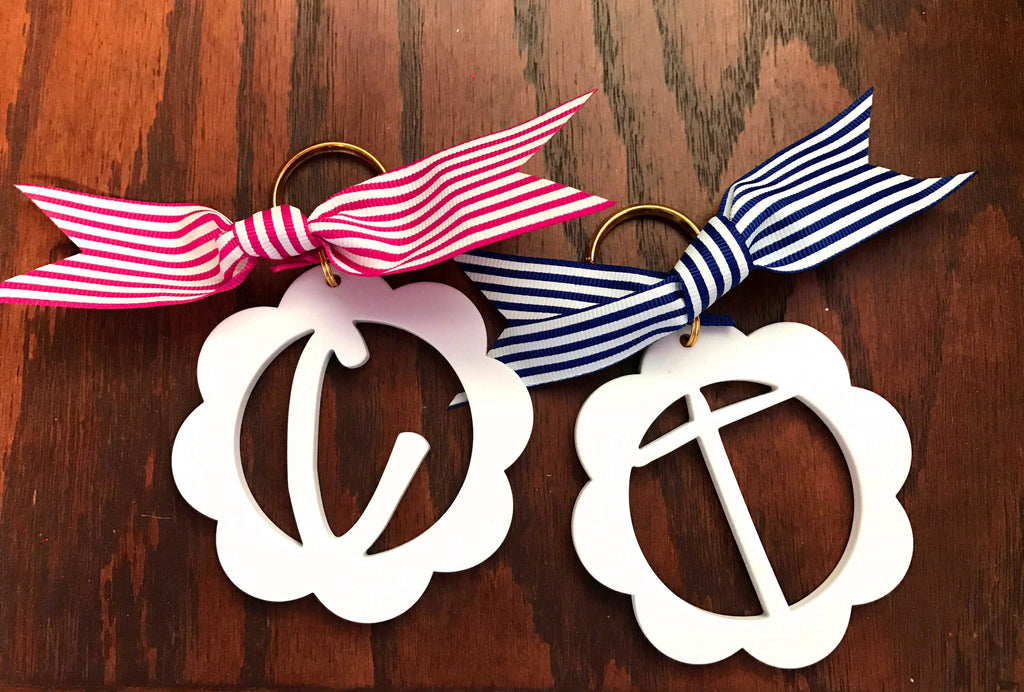 White Scallop Initial Keychain: Pink/Blue
