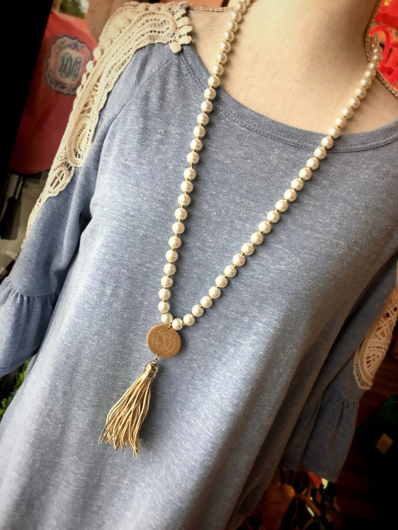 Pearl Perfection Monogram Tassel Necklace: Gold