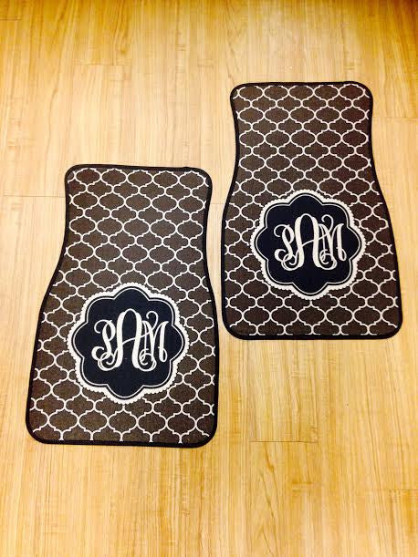Monogram Car Mats: Geo Brown/ Pink