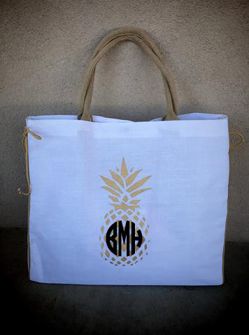 Royal Pineapple Tote: Gold/White