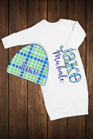 Baby Sleeper with Matching Hat: Boy Blue/Green Plaid