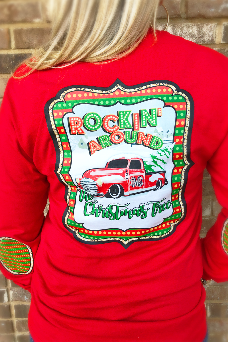 Rockin' Around the Christmas Tree: Monogram Elbow Patch Long Sleeve Tee