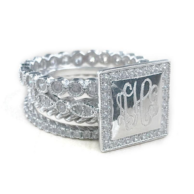 Katie: Sterling Silver Stackable Square Rings