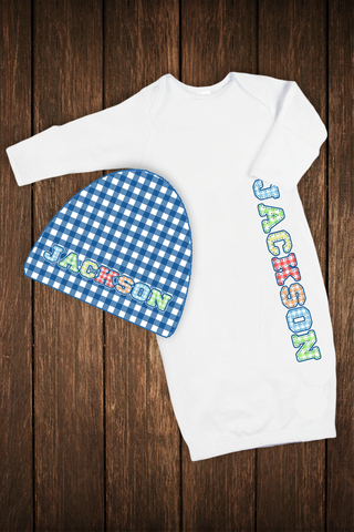 Baby Sleeper with Matching Hat: Boy Stitched Gingham