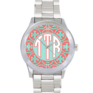 Designer Inspired Watch: Aqua/ Coral