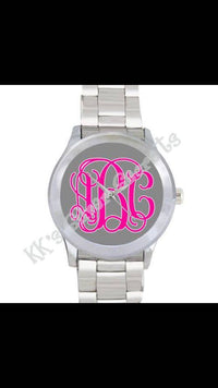 Monogram Watch: Grey/Neon Pink