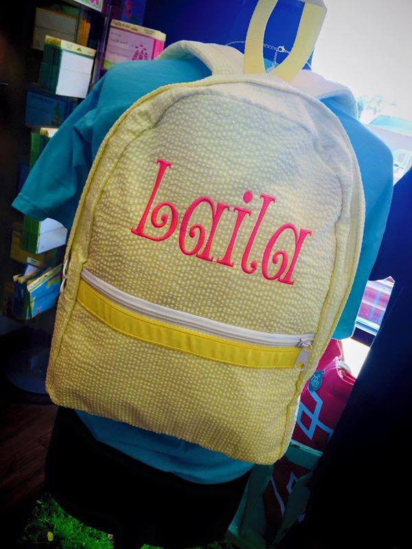 Large Yellow Seersucker Backpack: Pink Name