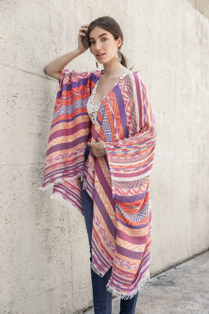 Purple and Orange Print Kimono