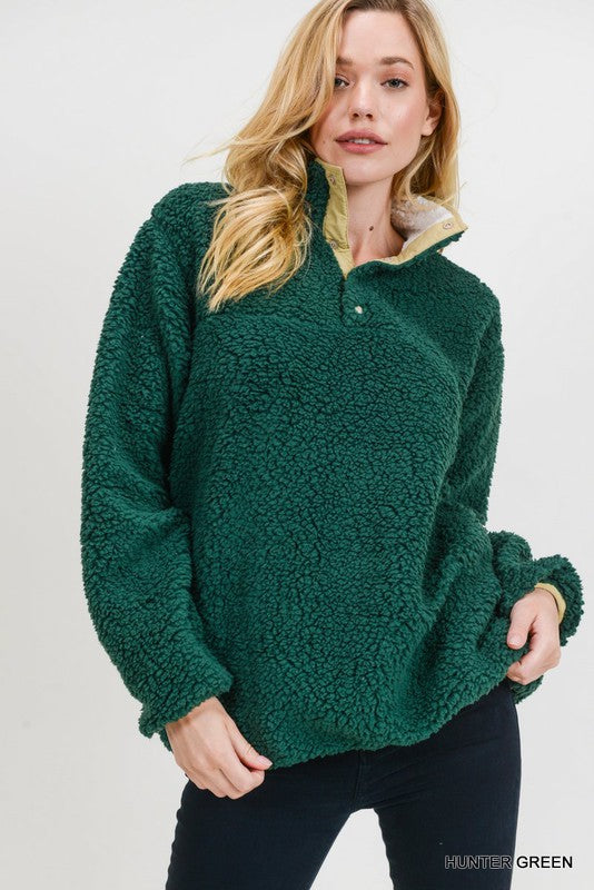 Hunter Green Fuzzy Pullover