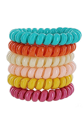 Colorful Hair Ties 6 Piece Set