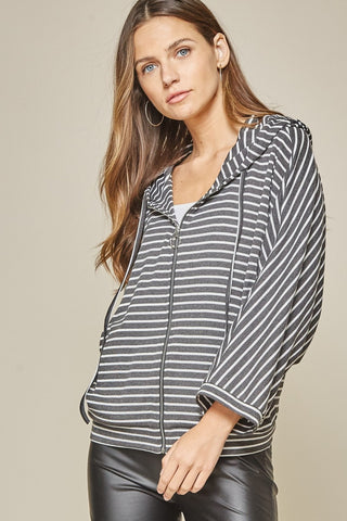 Charcoal Stripe Jacket with Hood
