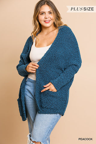 Peacock Blue Popcorn Cardigan Plus