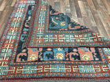 Afghan Rug Hand Knotted Oriental Rug Antique Afghan Kazak Small Rug 5'3X5'3