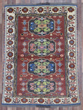 Afghan Rug Hand Knotted Oriental Rug Antique Afghan Kazak Small Rug 5'X6'5