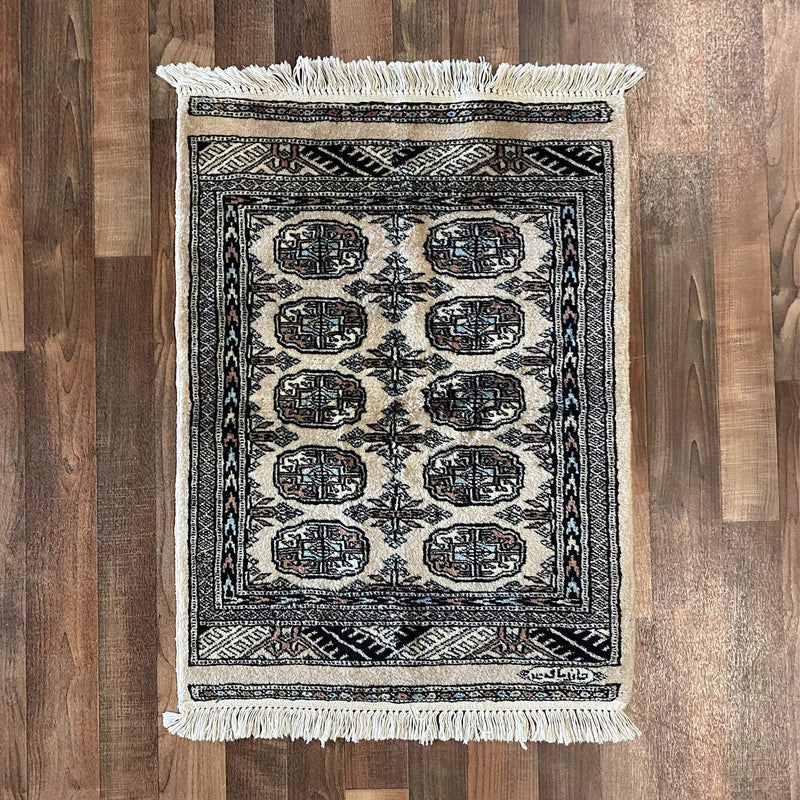 Fine Rug Collection Hand Knotted Oriental Rug Fine Modern Tekke-faced Bokhara Master Weave - Oriental Pakistani Area Rug 2'X3'