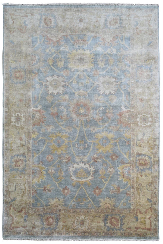 Indian Rug Hand Knotted Oriental Rug Fine Mahal 6'X9'2 Rug
