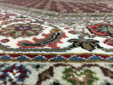Indian Rug Hand Knotted Oriental Rug Fine Mahi Tabriz With Silk Flowers Oriental Rug 8'1x8'1