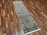 Indian Rug Hand Knotted Oriental Rug Fine Mahi Tabriz With Silk Oriental Runner Rug 2'X8'