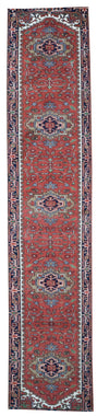 Indian Rug Hand Knotted Oriental Rug Fine Serapi Oriental Area Runner 2'5X15'7