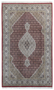 Indian Rug Hand Knotted Oriental Rug Fine Tabriz with Silk Oriental Rug With Silk 6'2X10'