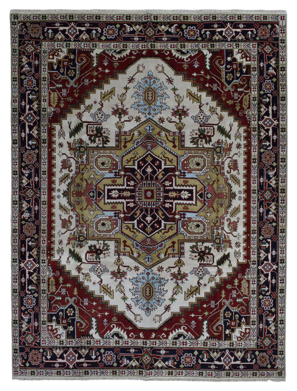 Indian Rug Hand Knotted Oriental Rug Heriz Large Oriental Rug 9'X12'