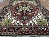Indian Rug Hand Knotted Oriental Rug Heriz Large Rug 10'X14'