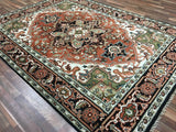 Indian Rug Hand Knotted Oriental Rug Heriz Large Rug 7'6X10'2