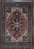 Indian Rug Hand Knotted Oriental Rug Heriz Large Rug 7'9X10'4