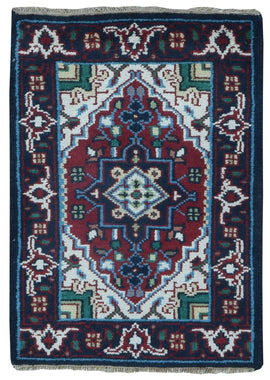 Indian Rug Hand Knotted Oriental Rug Heriz Oriental Area Rug 2'X3'
