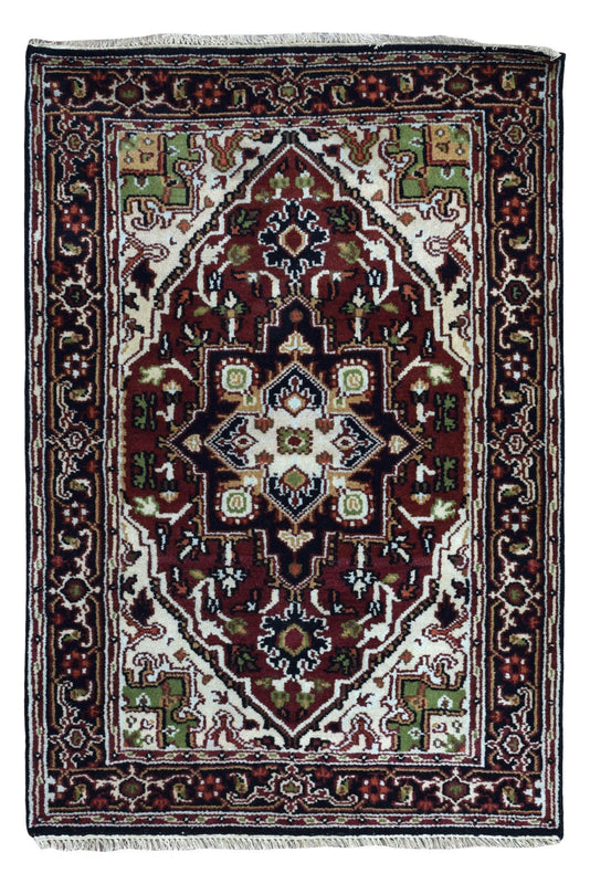 Indian Rug Hand Knotted Oriental Rug Heriz Small Rug 4'2X6'1