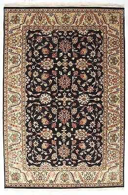 Indian Rug Hand Knotted Oriental Rug Indo Kashan 6x9 Oriental Persian Rug Design