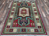 Indian Rug Hand Knotted Oriental Rug Kazak Small Rug 4'X6'2