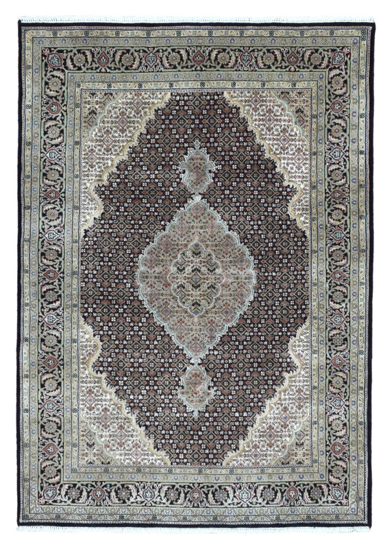 Indian Rug Hand Knotted Oriental Rug Large Fine Mahi Tabriz With Silk Oriental Rug 4'1X6'9