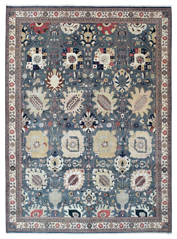 Indian Rug Hand Knotted Oriental Rug Large Grey-Blue Fine Tabriz Oriental Rug 9'2X12'4