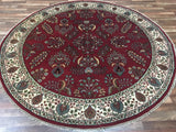 Indian Rug Hand Knotted Oriental Rug Large Round Sarouk Oriental Rug 8'7X8'7
