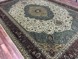 Indian Rug Hand Knotted Oriental Rug Large Tabriz Oriental Rug 9'10X14'4